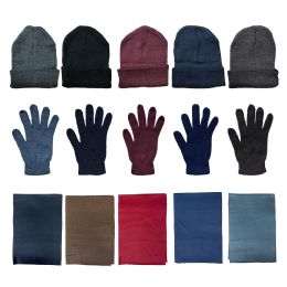 144 Bulk Yacht & Smith Unisex 3 Piece Winter Care Set, Assorted Beanie Hat , Assorted Magic Gloves And Assorted Fleece Scarf