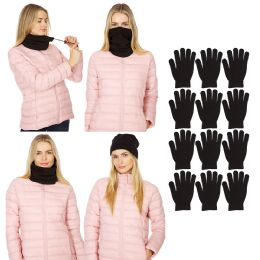 48 Bulk Yacht & Smith Mens Warm Winter Neck Gaitor And Glove Set Solid Black 48 Pieces