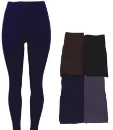 48 Bulk Women's Fleece Lined Leggings In Assorted Colors
