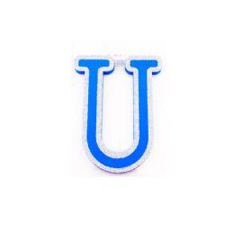 96 Bulk Blue And Silver Trim Letter U