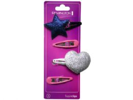 108 Bulk 4 Count Hairclips With Star And Heart Designs