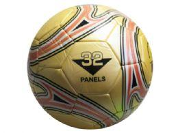 12 Bulk size 5 gold soccer ball with swirl design