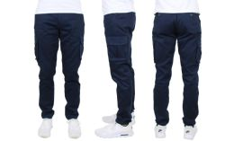 24 Bulk Flex Cotton Stretch Cargo Pants Slim-Fitting Cargo Pants Navy