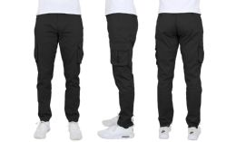 24 Bulk Flex Cotton Stretch Cargo Pants Slim-Fitting Cargo Pants Black