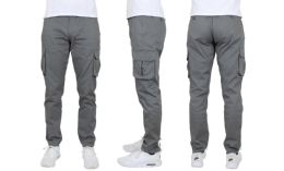 24 Bulk Flex Cotton Stretch Cargo Pants Slim-Fitting Cargo Pants Gray