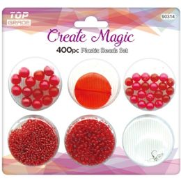 96 Bulk 400 Beads Set In Red