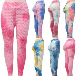 48 Bulk Women Ruched Scrunch Butt Tie Dye Leggings