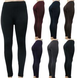 48 Bulk Women's Fleece leggings One Size Fits Most