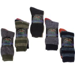 24 Bulk Men's Two Pair Pack Outdoor Socks Assorted Patterns and Color