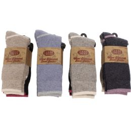 12 Bulk Women Wool Blend Ultra Soft Boot Sock Two Pair Pack