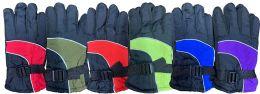 6 Bulk Yacht & Smith Kids Ski Glove, Fleece Lined Water Resistant Bulk Kids Winter Gloves (6 PACK ASSORTED)
