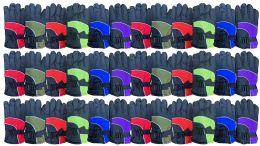 36 Bulk Yacht & Smith Kids Ski Glove, Fleece Lined Water Resistant Bulk Kids Winter Gloves (36 PACK ASSORTED)