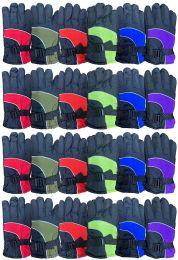 24 Bulk Yacht & Smith Kids Ski Glove, Fleece Lined Water Resistant Bulk Kids Winter Gloves (24 PACK ASSORTED)