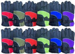 12 Bulk Yacht & Smith Kids Ski Glove, Fleece Lined Water Resistant Bulk Kids Winter Gloves (12 PACK ASSORTED)