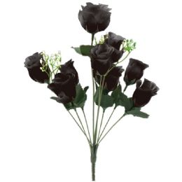 144 Bulk 10 Head Rose In Black