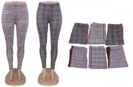 72 Bulk Women's Casual Plaid Leggings Stretchy Work Pants