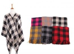 18 Bulk Women's Plaid Sweater Poncho Cape Coat Open Front Blanket Shawls and Wraps