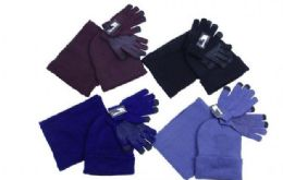 48 Bulk Hat Scarf and Gloves or Mitten Cold Weather Set