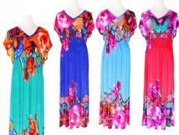72 Bulk Womens Summer Contrast Sleeveless Floral Print Maxi Dress