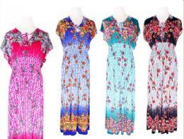 72 Bulk Womens Summer Contrast Scoop Neck Short Sleeve Printed Maxi Dress