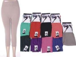 72 Bulk Women's Assorted Color Capri Leggings