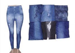 72 Bulk Womans Denim Like Leggings Jeggings One Size Fits All