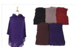 18 Bulk Women's Cozy Warm Poncho Sweater Elegant Shawl
