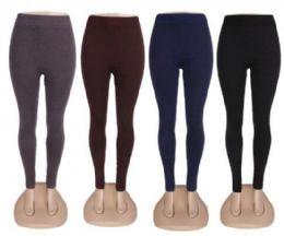 48 Bulk Womens High Waist Basic Solid Cotton Full Ankle Length Leggings