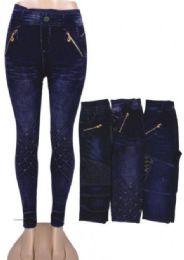 48 Bulk Women's Soft Daily Stretch Denim Jeggings Pants with Pockets