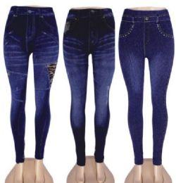 48 Bulk Women's Denim Leggings With Pockets