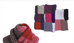 72 Bulk Women's Assorted Color Knitted Infinity Scarf