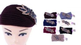 120 Bulk Women Knitted Headbands Winter Warm Head Wrap Rhinestone Flower Wide Hair Accessories