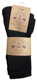 36 Bulk Yacht & Smith Womens Terry Line Merino Wool Thick Thermal Boot Socks, Solid Black