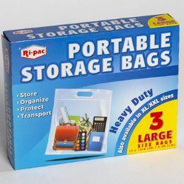 24 Bulk Storage Bags Portable 3ct Large Zipper Seal 15 X 15 Heavy Duty
