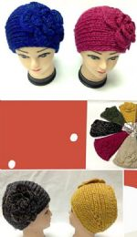 96 Bulk Knit Flower Wide Headband