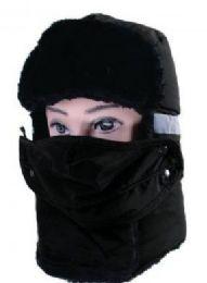 36 Bulk Men Winter Hat With Mask In Black