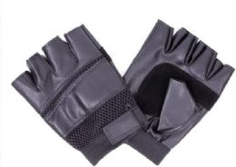 144 Bulk Mens Leather Half Finger Glove
