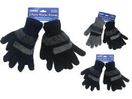 288 Bulk Mens Striped Gloves 2 Pairs