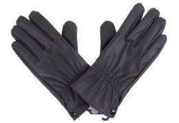 72 Bulk Mens Black PU Gloves In Black