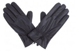 72 Bulk Mens Black PU Gloves In Black With Button Detail