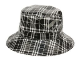 12 Bulk Faux Leather Plaid All Weather Bucket Hat