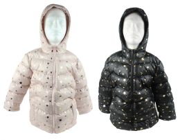 12 Bulk Boy's & Girl's Metallic Star Winter Bubble Ski Jackets W/ Hood - Sizes XS-Xl - Choose Your Color(s)