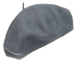 12 Bulk Unisex Classic French Wool Beret In Ash Grey