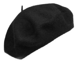 12 Bulk Unisex Classic French Wool Beret In Black