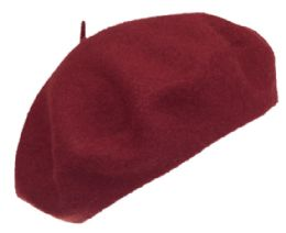 12 Bulk Unisex Classic French Wool Beret In Brurgandy