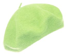 12 Bulk Unisex Classic French Wool Beret In Lime Green