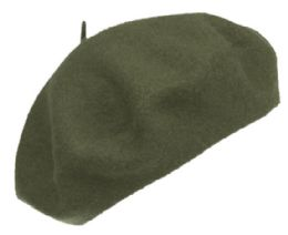 12 Bulk Unisex Classic French Wool Beret In Olive