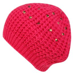 24 Bulk Knit Double Layer Beret With Studs