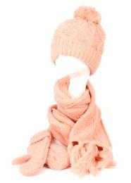 12 Bulk Knit Beanie With Pom Pom And Scarf Mittens Sets