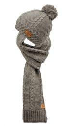 12 Bulk Knit Pom Pom Beanie With Scarf Set